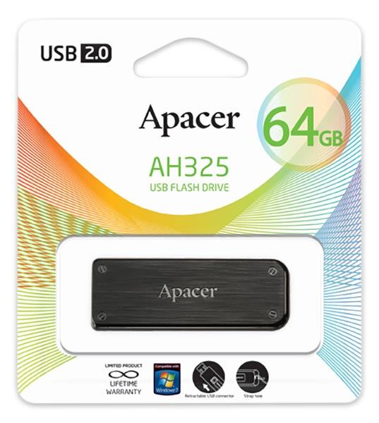 флешка USB Apacer AH325 64Gb black