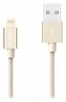 кабель для iPhone Rock Lightning Metal charge&Sync Round Cable 20 cm
